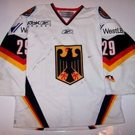 Gameworn German Hockey National Team Alexander Barta Front
