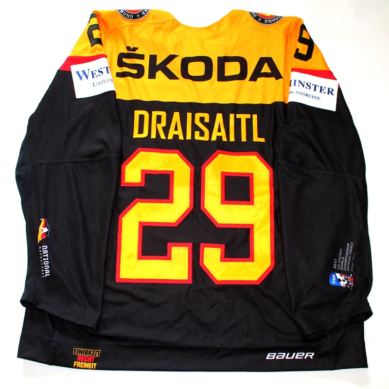 Game issued Team Germany 2017 pre world championship jersey of Leon Draisaitl - back