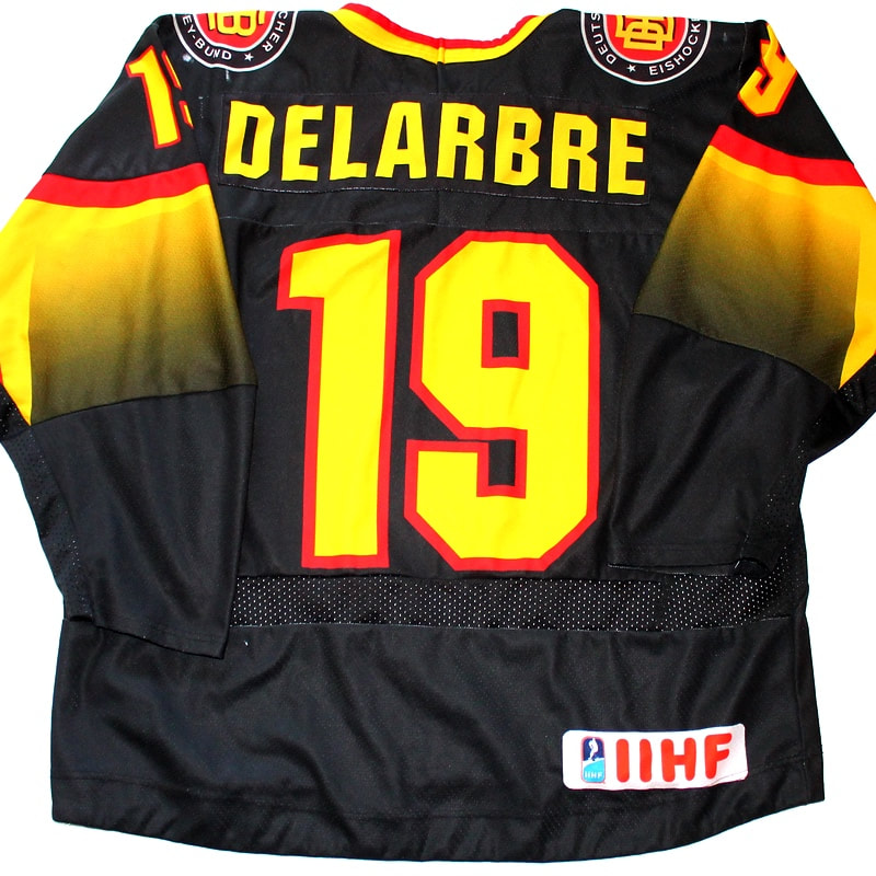 Game worn hockey womens world championship jersey of Marie Delarbre - back