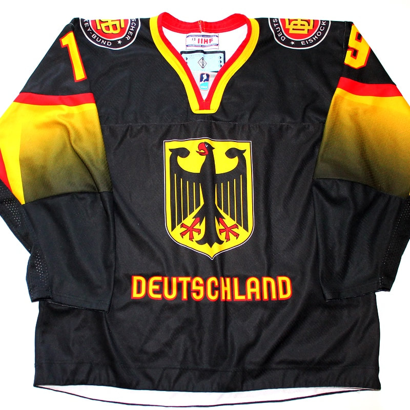 Game worn hockey womens world championship jersey of Marie Delarbre - front
