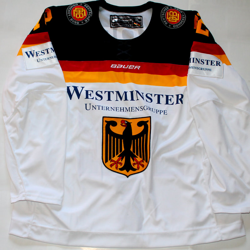 Team Germany game worn hockey jersey of Dominik Kahun Front