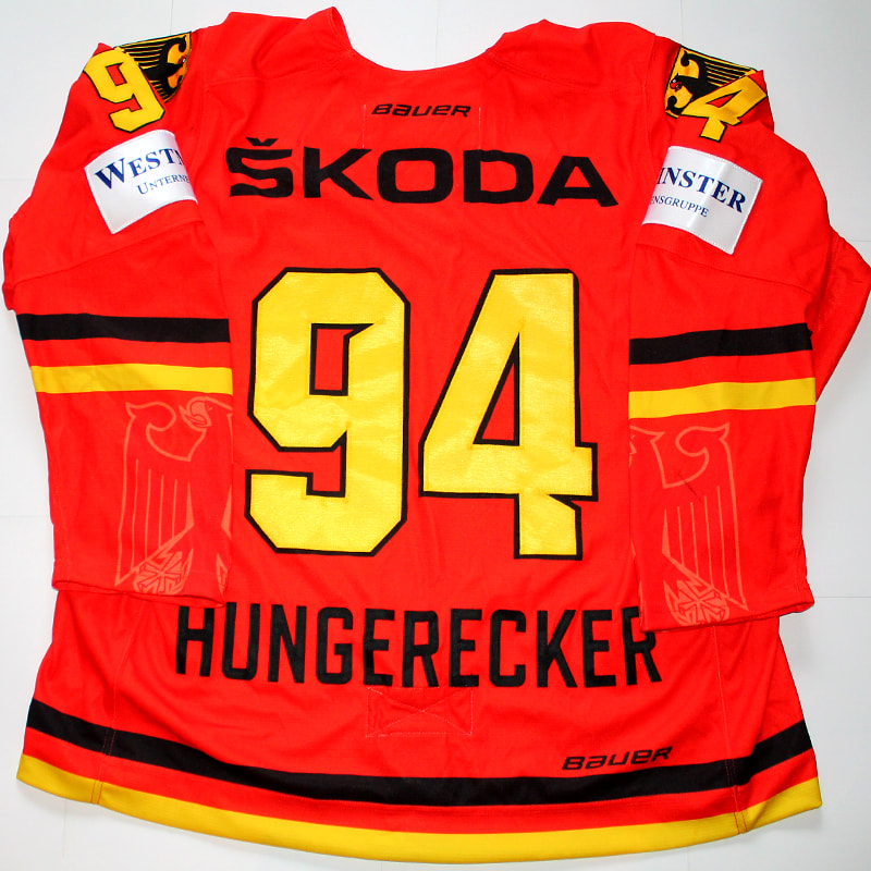 Germany Game Worn hockey jersey Hungerecker Back