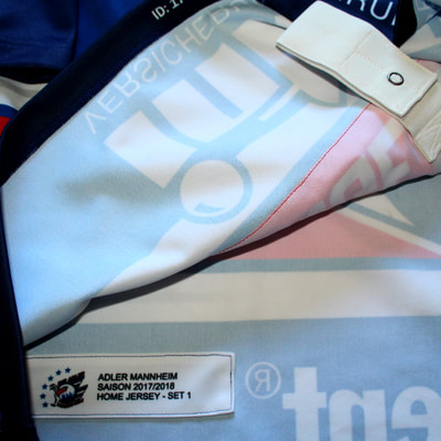 Game Worn Trikot Adler Mannheim Phil Hungerecker Setstamp